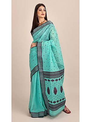 Sea-Blue Pure Cotton Hand Woven Bangail Tant Saree With Unstitched Blouse