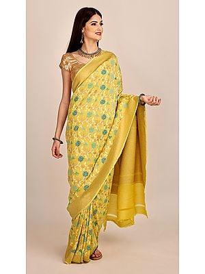 Pure Chiffon Golden-Haze Banarasi Saree (With Unstitched Blouse)| Handloom Zari Woven | Handmade | Made In India