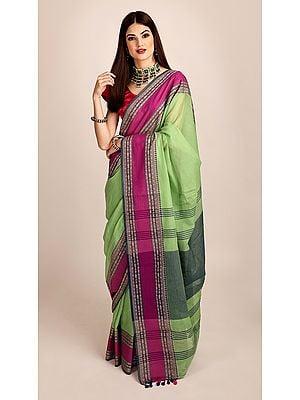 Green Pure Muslin Cotton Hand Woven Puja Sari from Bangal