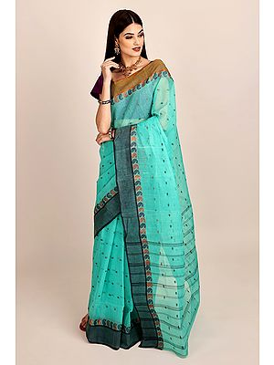 Sea-Green Pure Cotton Hand Woven Tant Sari from Bangal