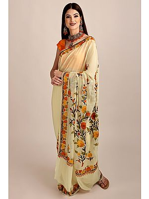 Cream Ari-Embroidered Georgette Sari From Kashmir