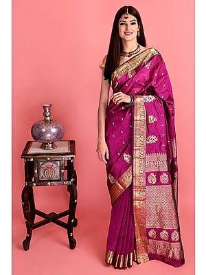 Magenta Hand Woven Uppada Silk Sari From Bangalore with Golden Thread Weave