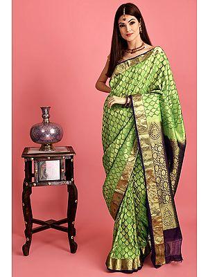 Royal-Blue Hand Woven Silk Sari From Bangalore Golden Bootis All-over