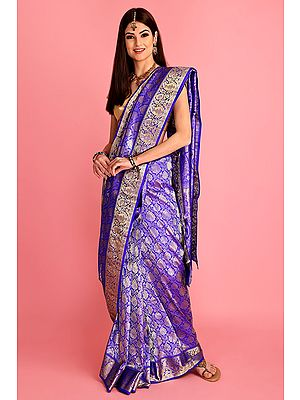 Vibrant-Blue Hand Woven Pure Silk Sari From Bangalore with Paisleys on Border