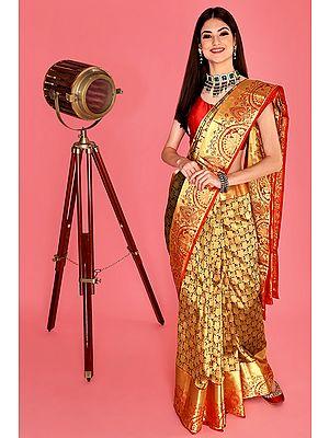Red Hand Woven Pure Silk Uppada Bridal Sari From Bangalore