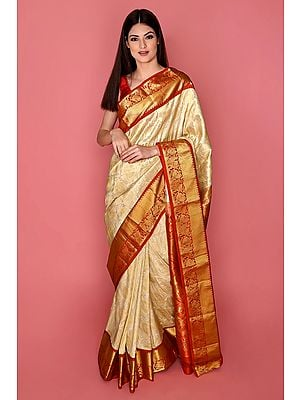 Ivory and Red Handloom Pure Silk Sari From Bangalore with Brocade Weave