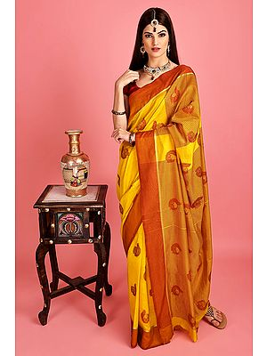 Radiant-Yellow  Hand Woven Poly Silk Saree From Chennai