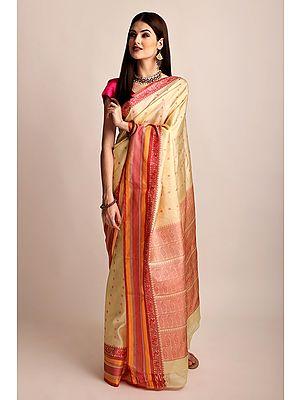 Beige & Hot-Pink Hand Woven Pure Silk Sari From Chennai