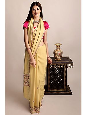 Honey-Peach Crepe Sari From Kashmir with Multi-colored Sozni Embroidery by Hand