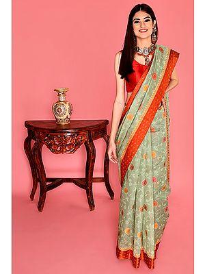 Winter-Pear Hand Woven Kora Banarasi Sari from the House of Kasim