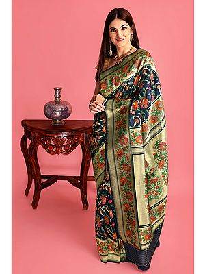 Navy-Blue Handloom Pure Silk Banarasi Sari with Kadhwa Woven Flowers All-over