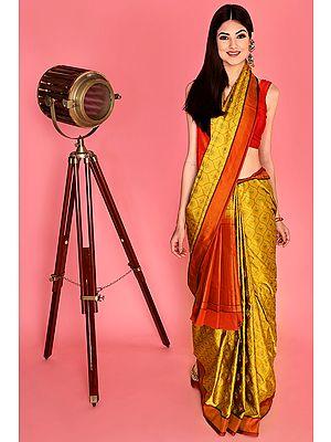 Spicy-Mustard Hand Woven Pure Silk Banarasi Sari from the House of Kasim