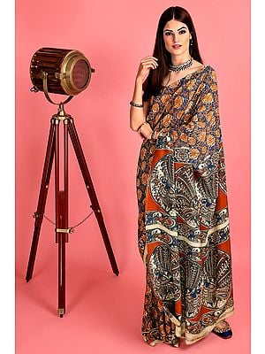 Tri-Coloured Hand-Painted Kalamkari Chiffon Sari from Telangana