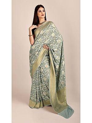 Grey Handloom Pure Chiffon Banarasi Sari with Brocade Weave