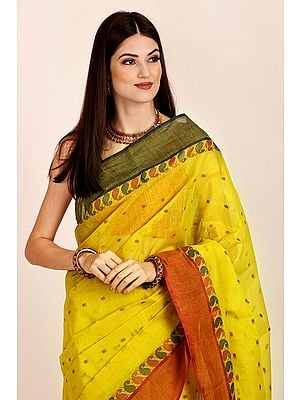 Misted-Marigold Pure Cotton Hand Woven Tant Sari from Bangal