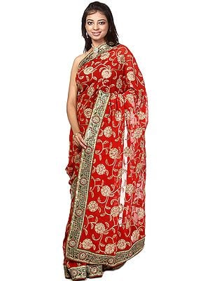 Tango-Red Sari with Metallic Thread Embroidered Flowers and Patch Border
