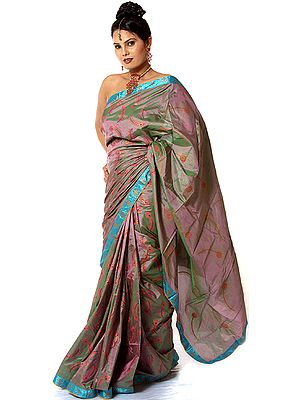 Taupe-Gray Double Hued Sari with Hand-Painted Peacock Feathers All-Over