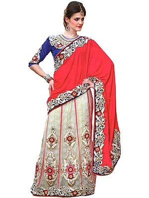 Tomato and Cream Bridal Lehenga-Sari with Embroidered Floral Patches
