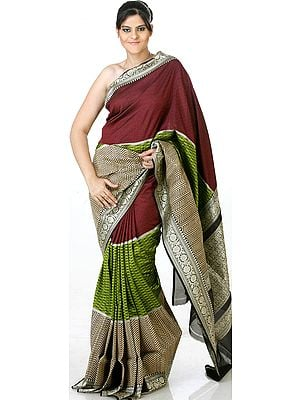 Tri-Color Designer Sari from Banaras with Jute Weave and Brocaded Border
