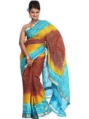 Tri-Color Bandhani Tie-Dye Gharchola Sari from Gujrat with Golden Thread Weave