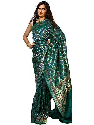 Tropical-Green Banarasi Sari with All-Over Woven Floral Leaves and Brocaded Aanchal