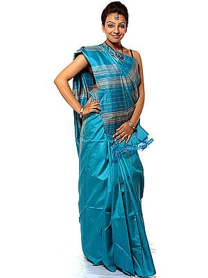Turquoise-Blue Sari with Giant Temple Weave