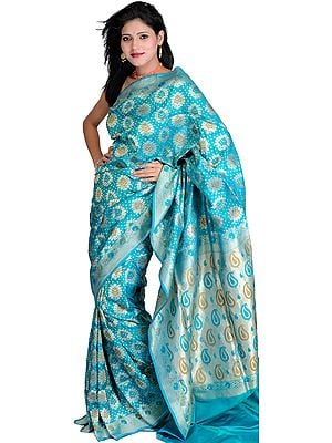 Viridian-Green Jamdani Sari from Banaras with Woven Flowers All-Over