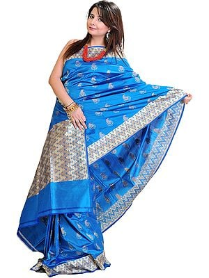 Vivid-Blue Banarasi Sari with All-Over Woven Booties in Metallic Thread