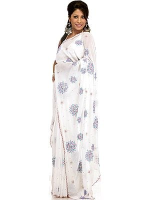 White Wedding Sari with All-Over Sequins Embroidered as Flowers