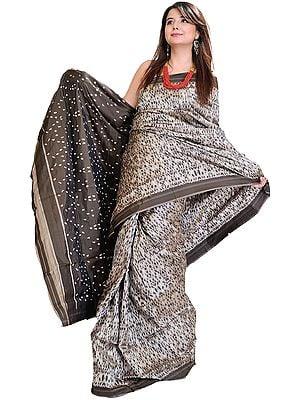 Wild Dove-Gray Sari Ikat from Pochampally Village