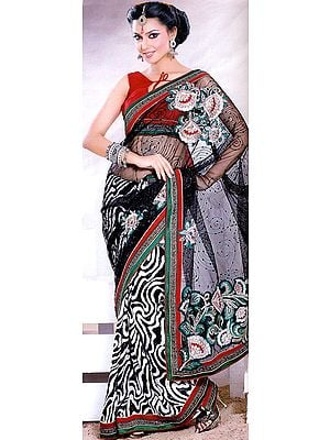 Zebra Printed Sari with Metallic Thread Embroidery and Patch Border