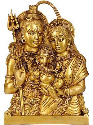 Lord Shiva, Ganesha and Goddess Parvati Wall Hanging