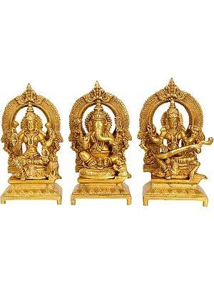 Ganesha, Lakshmi and Saraswati