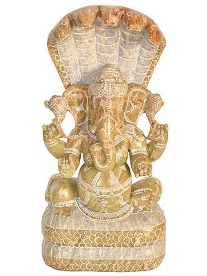 Lord Ganesha with Five Hooded Serpent Canopying Atop