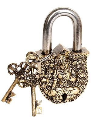 Tibetan Buddhist Goddess White Tara Temple Lock with Dorje Keys
