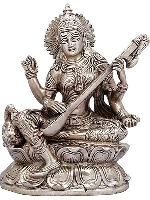 Goddess Saraswati Seated on Lotus with Swan