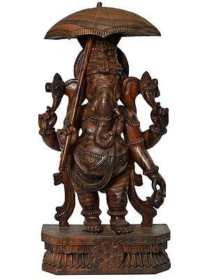 Large Size Lord Ganesha Holding Royal Umbrella