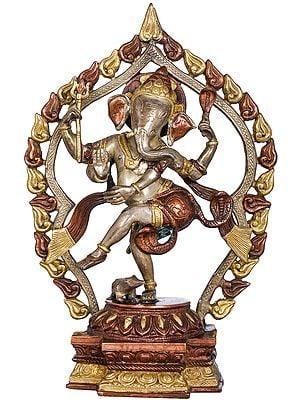Dancing Ganesha with Flaming Aureole