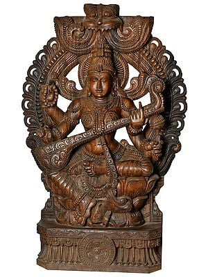 Goddess Saraswati Seated on Lotus (Large Size)