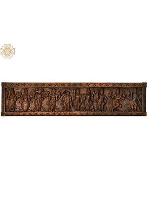Dashavatara Panel : Ten Incarnations of Lord Vishnu (From Left - Matshya, Kurma, Varaha, Narasimha, Vaman, Parashurama, Rama, Balarama, Krishna and Kalki)