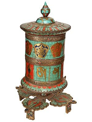 Ashtamangala Prayer Wheel On Interlocked Vajra Stand