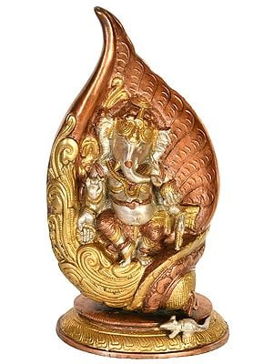 Lord Ganesha In The Folds Of A Conch