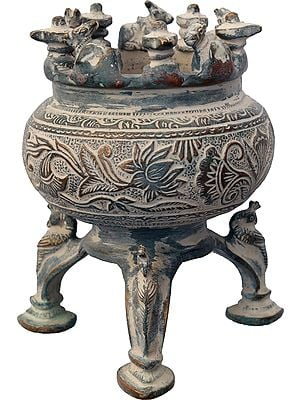 Incense Burner with Nandi, Shiva Linga and Peacock Legs