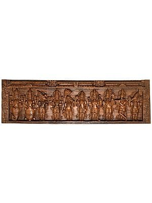 Dashavatara Panel - The Ten Incarnations of Lord Vishnu (From the Left - Matshya, Kurma, Varaha, Narasimha, Vaman, Parashurama, Rama, Balarama, Krishna and Kalki)