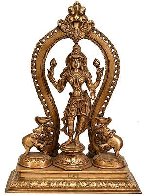 Standing Goddess Lakshmi with Two Elephant Diyas (Gajalakshmi)