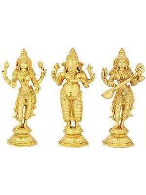 Lakshmi Ganesha and Saraswati (Set of Three Statues)
