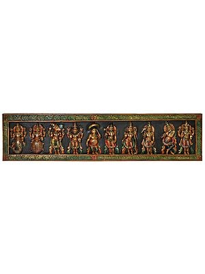 Dashavatara Panel: Ten Incarnations of Lord Vishnu (From Left - Matshya, Kurma, Varaha, Narasimha, Vaman, Parashurama, Rama, Balarama, Krishna and Kalki)