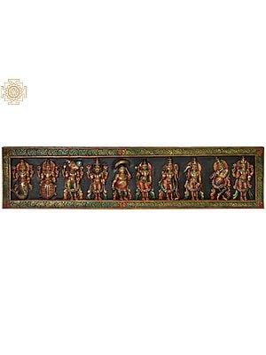 Dashavatara Panel: Ten Incarnations of Lord Vishnu (From Left - Matshya, Kurma, Varaha, Narasimha, Vaman, Parashurama, Rama, Balarama, Krishna and Kalki)