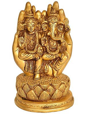 Goddess Lakshmi and Lord Ganesha in Blessing Hand