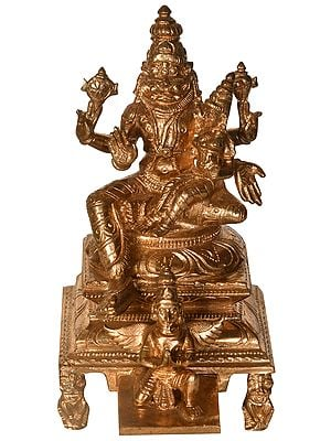 Lord Narasimha with Goddess Lakshmi Seated on Garuda Chowki